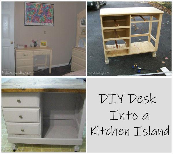 DIY Desk Into A Kitchen Island