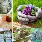 DIY Hand Cupped Stone Garden Planter