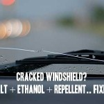Cracked windshield? Salt + Ethanol + Repellent.. Fixed!