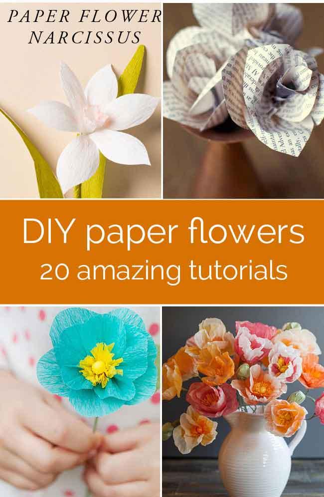 20 Pretty DIY Paper Flower Tutorials