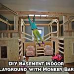DIY Basement Indoor Playground with Monkey Bars