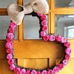 DIY Burlap Rosette Heart Wreath