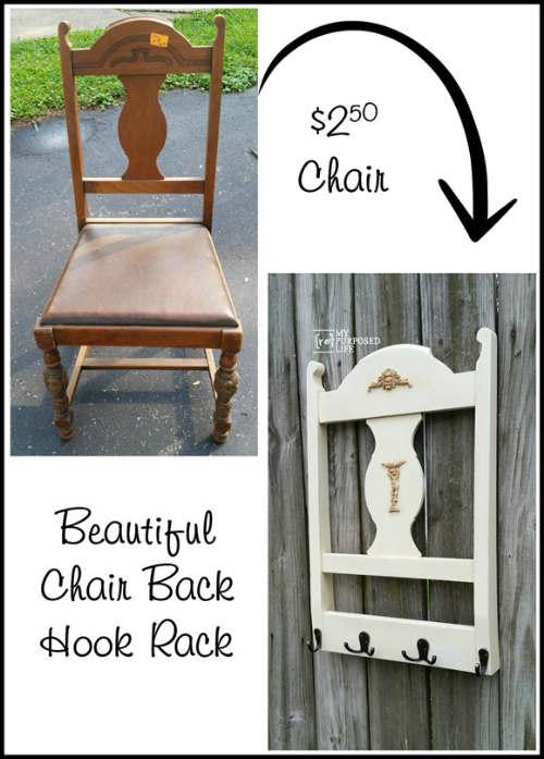 Repurposed Chair Back to Coat Rack - DIY