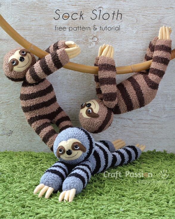 Sock Sloth Plushie - FREE Pattern