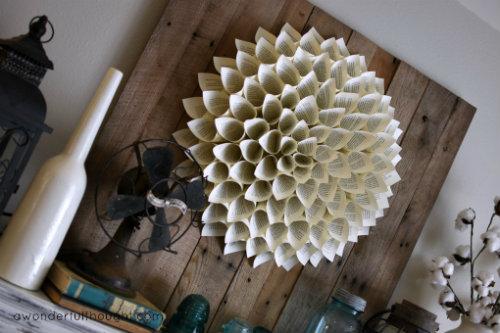 How to Make a Dahlia Book Page Wreath
